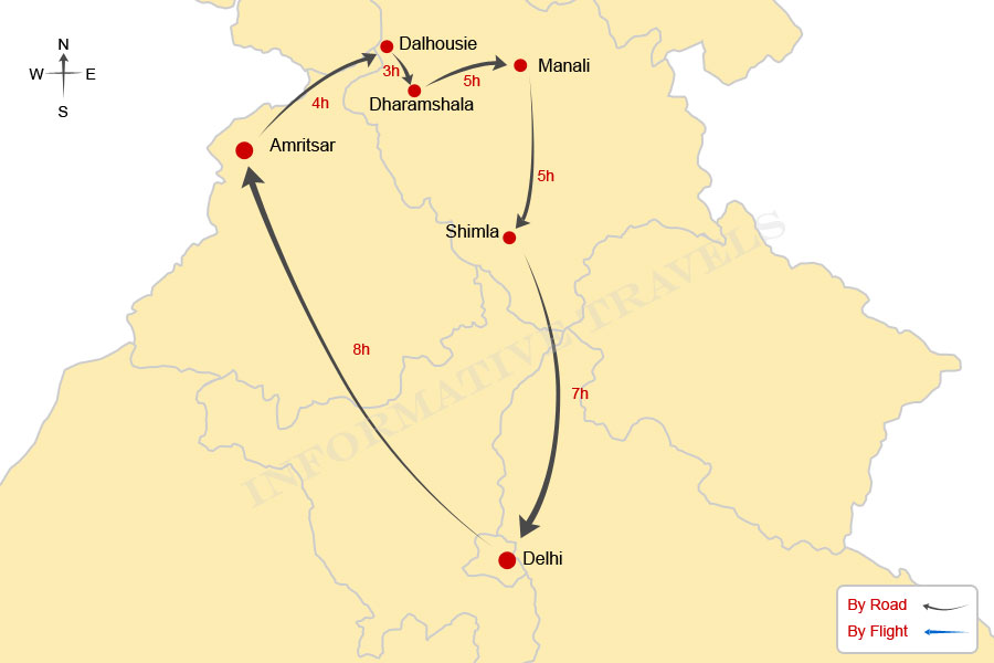 Manali India Map.Himachal 9 Days Tour Car Hire Delhi India